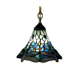 Dale Tiffany 8935/1LTA Dragonfly Light Fixture, Antique Brass and Art