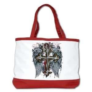 Shoulder Bag Purse (2 Sided) Red Cross Angel Wings