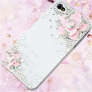 4S Camellia Flower Bling Diamond Rainstone Hard Case Cover Skin