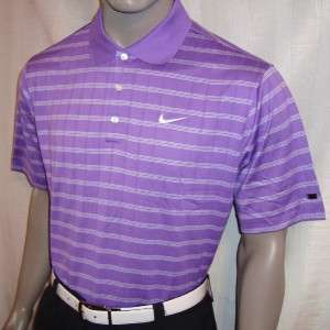 XL 2011 Nike Tiger Woods Drop Needle Stripe Tour Logo Polo Shirt w