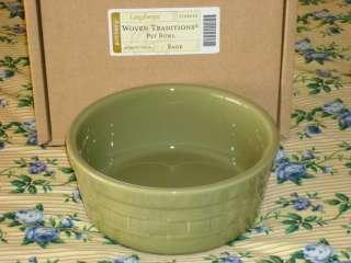 Longaberger Sage Woven Traditions Pottery Pet Bowl