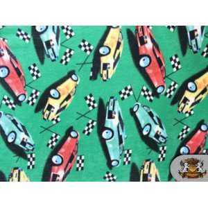 Fleece Printed Cars Red Green Yellow Fabric / By the Yard
