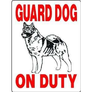 NORWEGIAN ELKHOUND ALUMINUM GUARD DOG SIGN 3338NEH