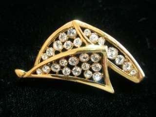 Classic Elegance Gold Tone & Clear Rhinestone Pin