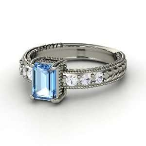 Emerald Isle Ring, Emerald Cut Blue Topaz 14K White Gold Ring