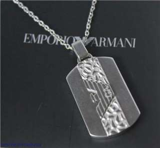 Emporio Armani logo dog tag necklace EGS1042 silver tone steel new in