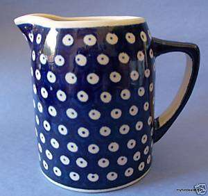 Boleslawiec Navy Blue Pottery Pitcher Handmade Poland