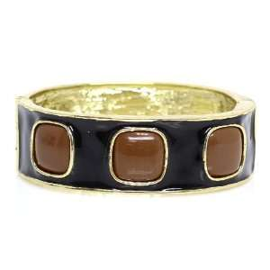 ; Gold Metal; Premium Black And Brown Epoxy Resin Coat; Clasp Closure