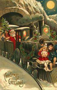 Fabric Block Santa Polar Express Postcard printed onto Fabric