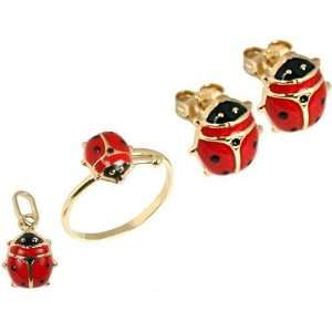 14K Gold Lady Bug Charm Earring & Ring 3pc Jewelry
