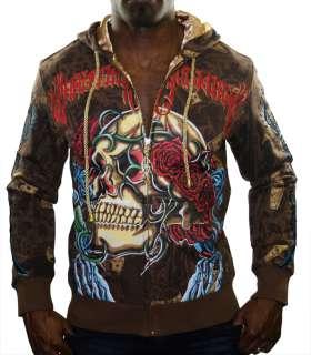 CHRISTIAN AUDIGIER Ed Hardy Platinum Skull Roses Hooded Mens Hoodie