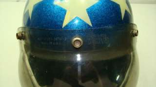 Metal Flake Red White & Blue Easy Rider Evel Knievel Motorcycle Helmet