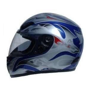 Blue Pattern Full Face DOT Motorcycle Street Bike Helmet
