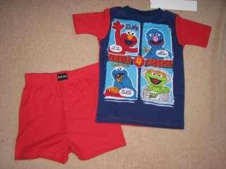 SESAME STREET Elmo *Friends* Shrt Shirt Pajamas Pjs 2T