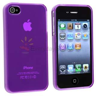 TPU Gel Skin Soft Cover Case For iPhone 4 G 4S Clear Pink+Purple+Blue