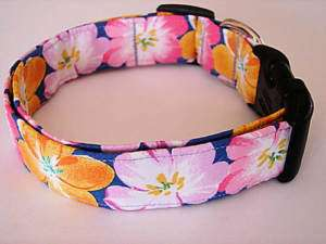 Charming Pink Gold Hawaiian Flower Dog Collar Small