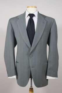 Vtg Pierre Cardin Green Stripe Wool 2 Piece Suit 46 R