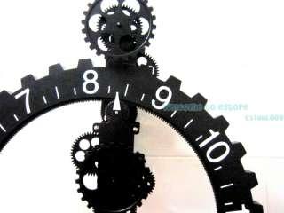 Retro Modern Large Wall Art Gear Clock antique Vintage black