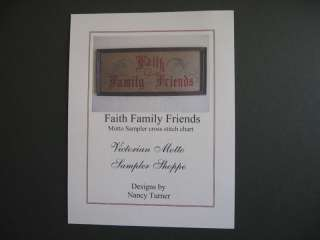 Faith Family Friends motto sampler cross stitch chart