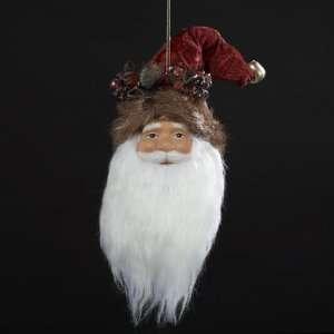 Pack of 6 Porcelain Burgundy Santa Claus Head Christmas