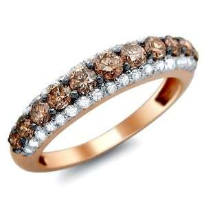 0ct Fancy Brown Round Diamond Band Ring 14k Rose Pink Gold Jewelry