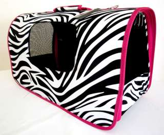 18 L Pet Carrier Dog/Cat Travel Bag Case Pink Zebra