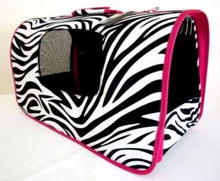 18 L Pet Carrier Dog/Cat Travel Bag Case Pink Zebra