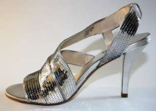 Womens Shoes NIB Michael Kors FARRIS Dress Sandal Sequin SILVER PROM