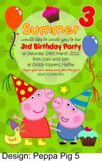10 x PEPPA PIG PERSONALISED PARTY INVITATIONS