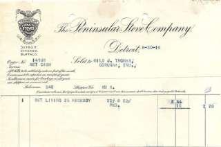 Peninsular Stove Company Detroit Michigan Billhead 1918