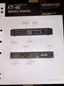 Kenwood KT 45 Synthesizer Stereo Tuner Service Manual