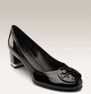 Amy Ballet Logo Black Patent Leather Pumps Shoes heels 6.5