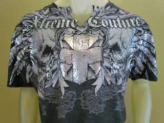 Couture Sonar FOIL print Skull MMA style T shirt Charcoal Size XL
