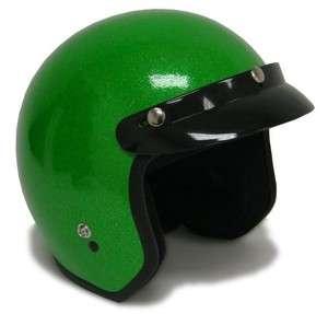 XXL~Metal Flake Motorcycle Helmet Vintage Green Open Face Racer