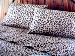 QUEEN FLANNEL SHEET SET LEOPARD CHEETAH ANIMAL DARK TAN