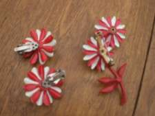 Vintage Retro Flower Power Enamel Pin With Matching Earrings