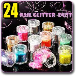 24 x Glitter Acrylic Powder Dust Nail Art Tips 12 Color
