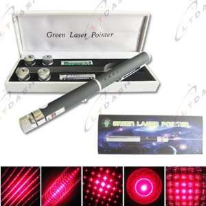 6 in 1 High Powered Red Laser Pointer Pen 5 Caps + 2
