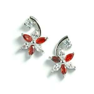 18K White Gold Plated Red CZ Flower Stud Earrings Jewelry