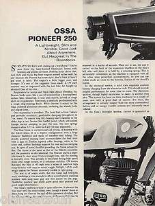 1969 Ossa 250 Pioneer Motorcycle report 1/16/12