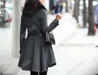 Slim Fit Long Fashion Coat Jacket Woolen Faux Fox Wool Collar Outwear