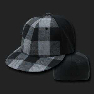 Black & Grey Plaid Flex Baseball Cap Caps Hat Hats OSFA