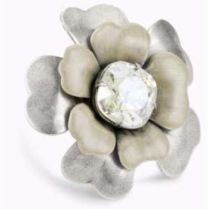 Liz Palacios Silver Blossom Crystal And Enamel Flower