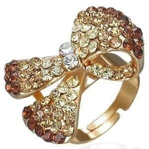 Shop   Free Size Fashion Crystal Bow/Ribbon Cocktail Ring w/ CZ & Gem