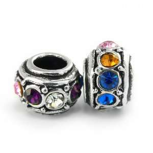 Olympia Bead Charm with Multi Colored Crystals   Compatible with