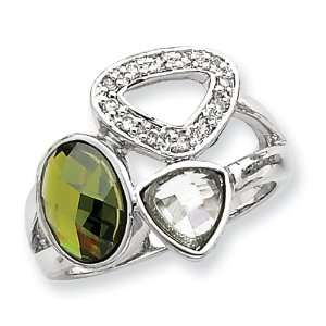 Sterling Silver Olive & Light Green CZ Ring   Size 7 West