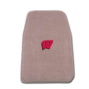 Beige Universal Fit Front Two Piece Floormat with NCAA Wisconsin Logo