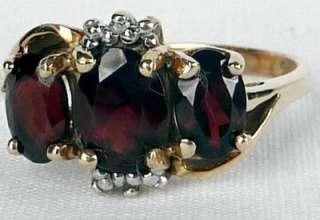 YELLOW GOLD 2.00 CT 3 STONE GARNET+DIAMOND BAND RING~SIZE 6.75