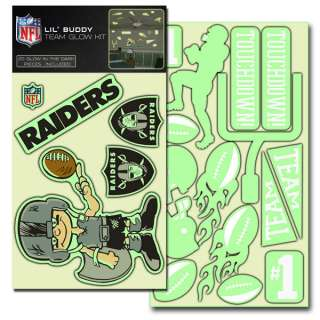 OAKLAND RAIDERS Logo NFL 20 Count Pack Lil Buddy Team Glow in the Dark