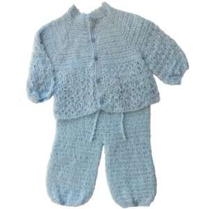 Handmade Baby Outfit, Pants and Open Sweater Set   Traditional Baby